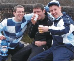 Three chavs and a bottle of white cider. Innit!